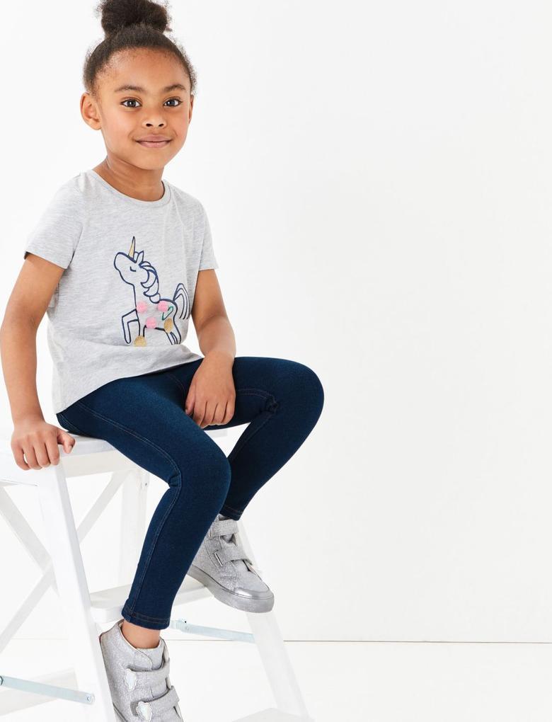 Kız Çocuk Mavi Denim Görünümlü Elastik Belli Tayt