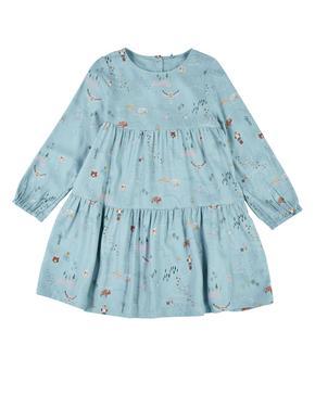 Kız Çocuk Mavi Desenli Uzun Kollu Elbise