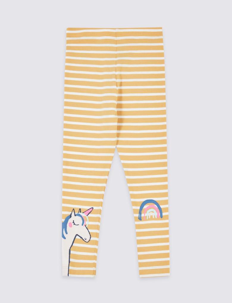 Kız Çocuk Sarı Pamuklu Desenli Tayt