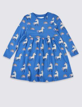 Saf Pamuklu Unicorn Desenli Elbise