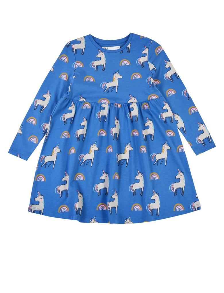 Kız Çocuk Mavi Saf Pamuklu Unicorn Desenli Elbise