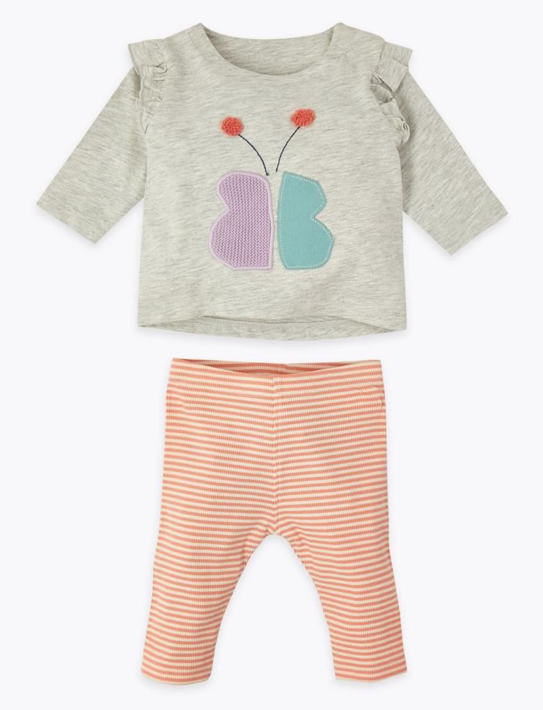 Bebek Gri 2 Parça Pamuklu Üst ve Alt Takımı