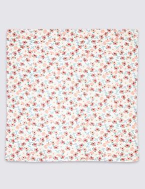 Saf Pamuklu Çiçek Desenli Battaniye
