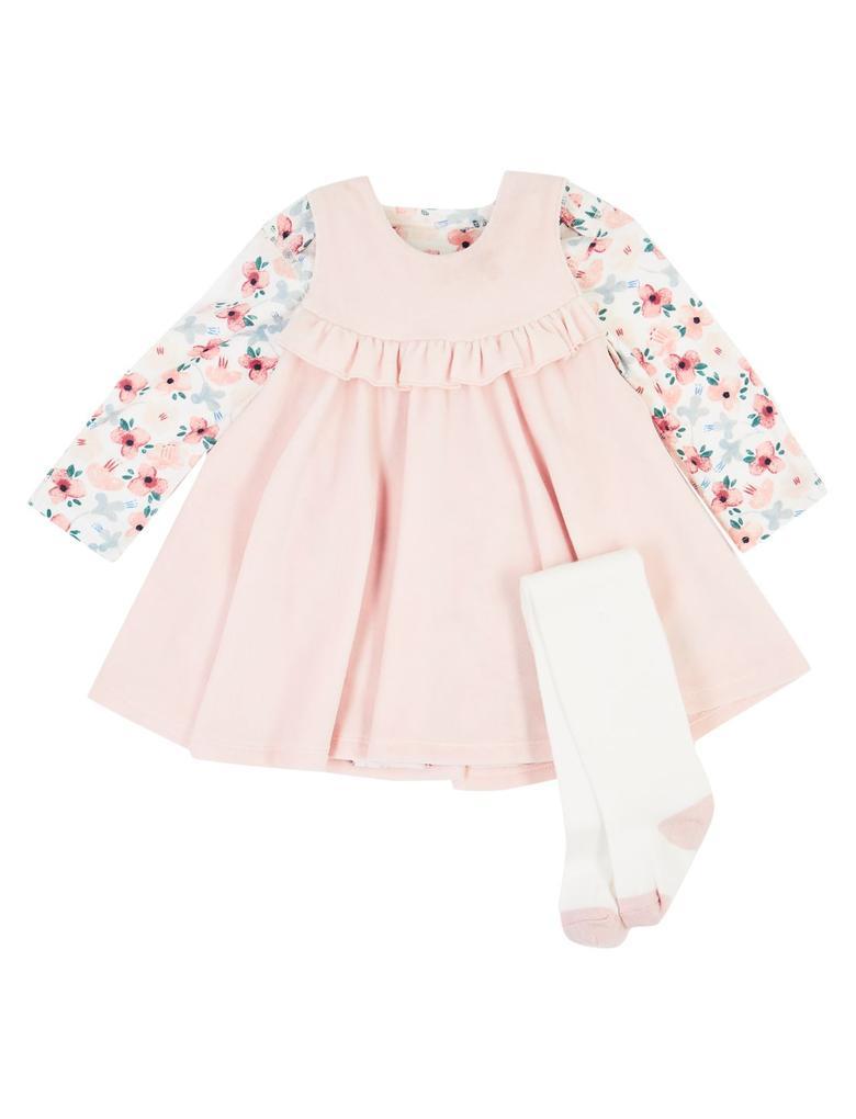 Bebek Pembe 3 Parça Elbise Body ve Çorap Takımı