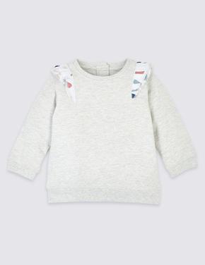 Pamuklu Fırfır Detaylı Sweatshirt