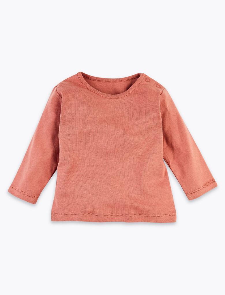 3'lü Saf Organik Pamuklu Desenli T-Shirt Seti