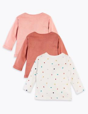 Bebek Pembe 3'lü Saf Organik Pamuklu Desenli T-Shirt Seti