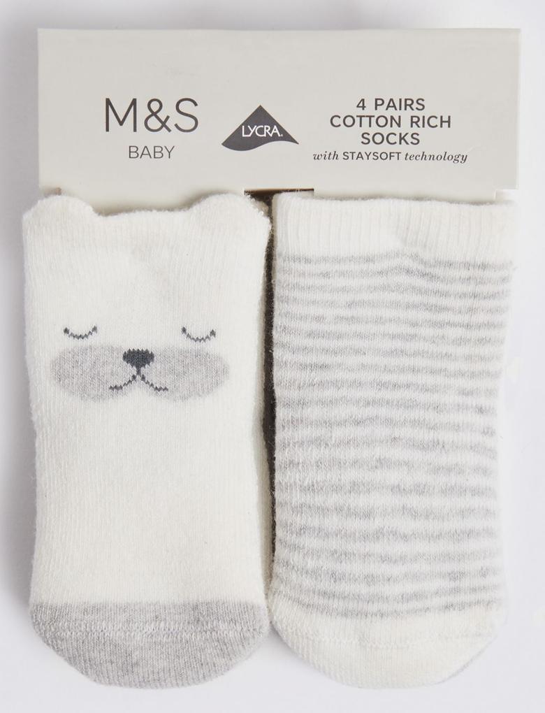 Çocuk Gri 4'lü Bebek Çorabı Seti