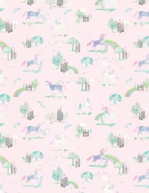 Ev Pembe Unicorn Desenli Çift Taraflı Nevresim Takımı