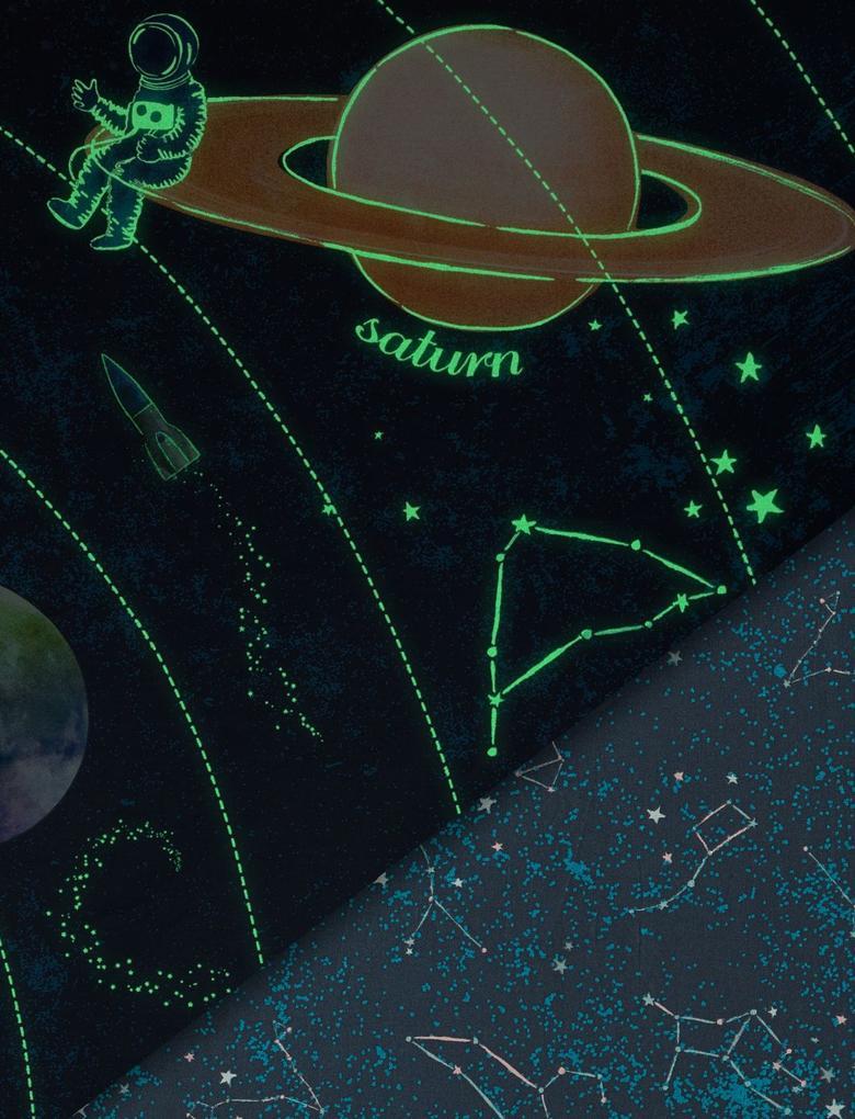 Karanlıkta Parlayan Galaksi Desenli Çift Taraflı Nevresim Takımı