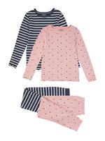 Çocuk Pembe 2'li Desenli Pijama Takımı Seti