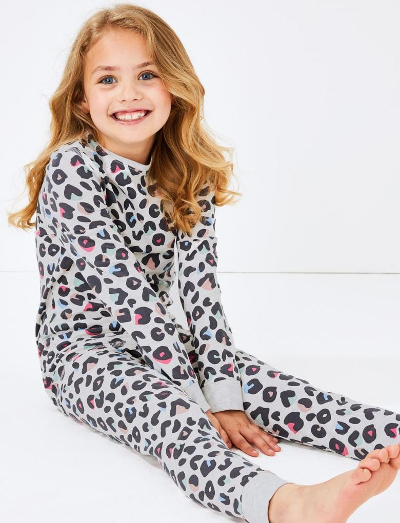Multi Renk Leopar Desenli Pijama Takımı