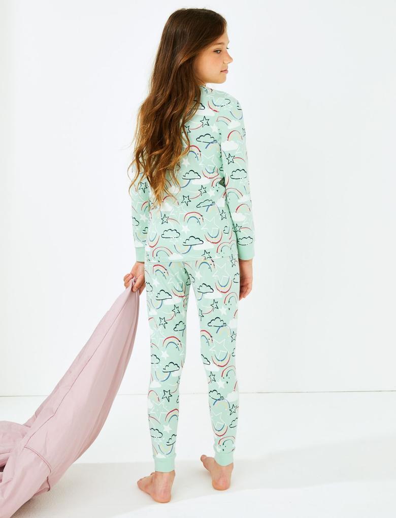 Mavi Gökkuşağı Desenli Pijama Takımı