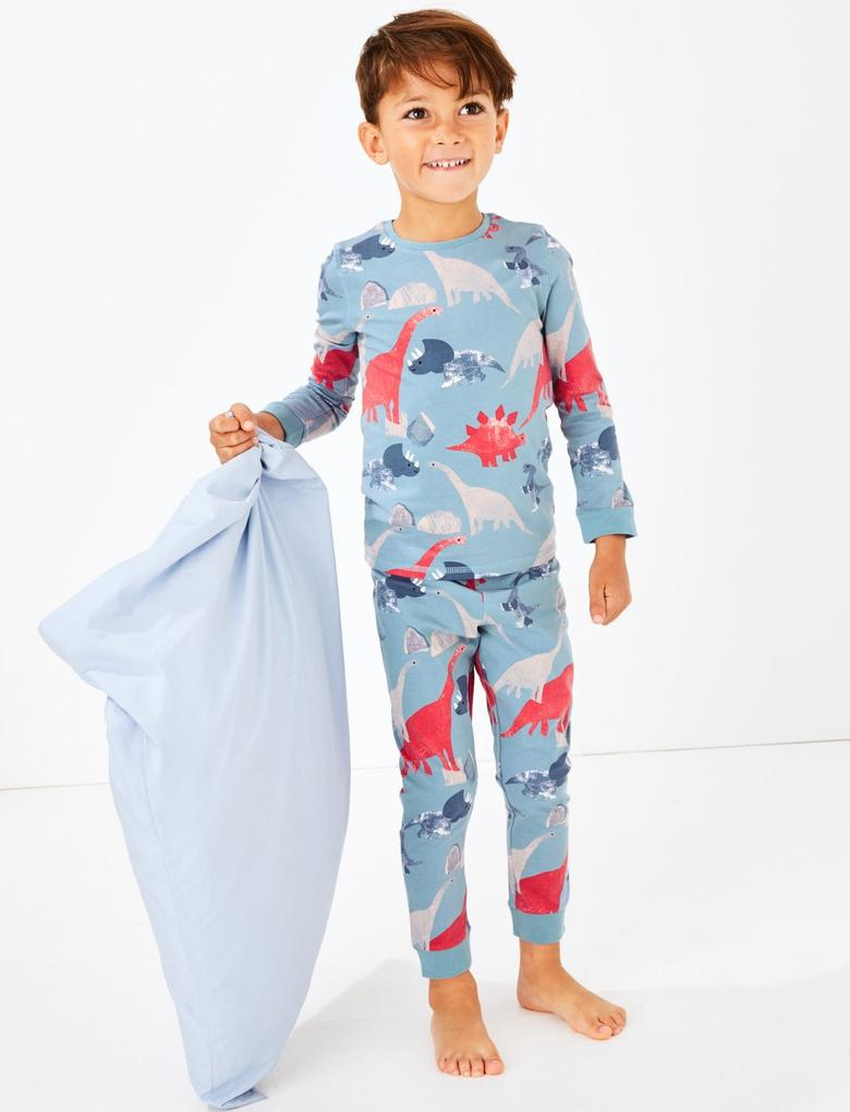 Dinozor Desenli Pijama Takımı