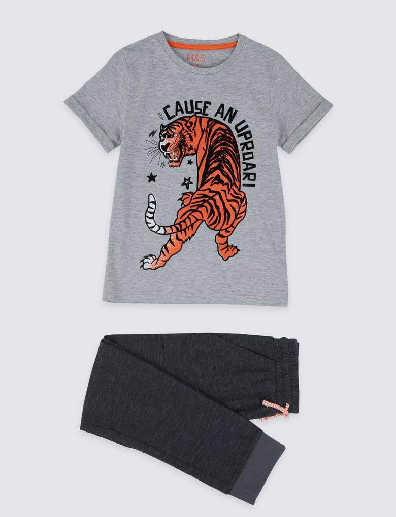 Çocuk Gri Kaplan Baskılı Pijama Takımı