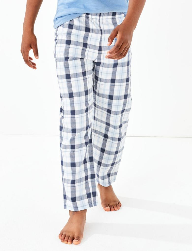 Çocuk Gri 2'li Ekose Pijama Takımı