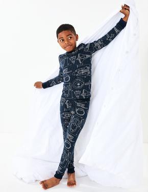 Roket Desenli Pijama Takımı