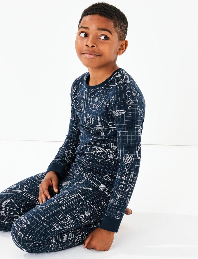 Çocuk Lacivert Roket Desenli Pijama Takımı
