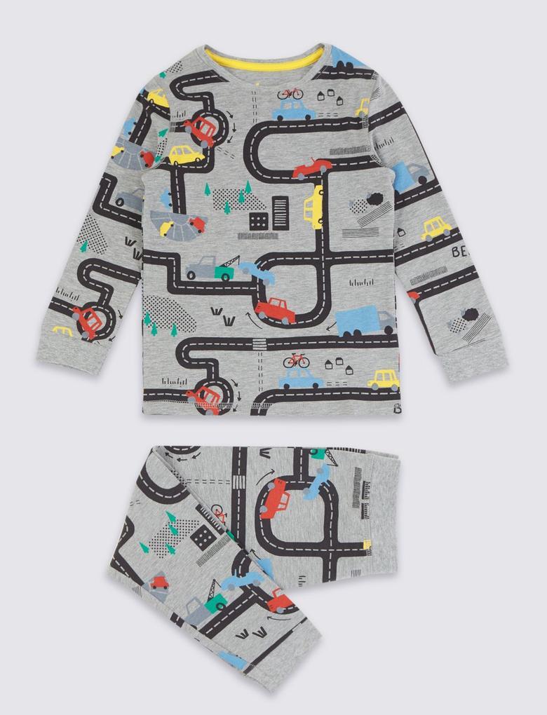 Araba Desenli Pijama Takımı
