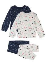 2'li Desenli Pijama Takımı Seti