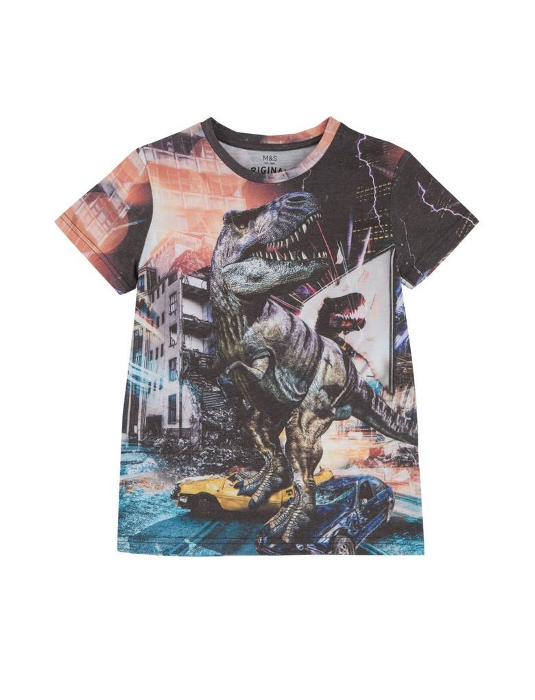 Erkek Çocuk Multi Renk Pamuklu Dinozor Desenli T-shirt