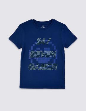 Saf Pamuklu Kısa Kollu Slogan T-shirt