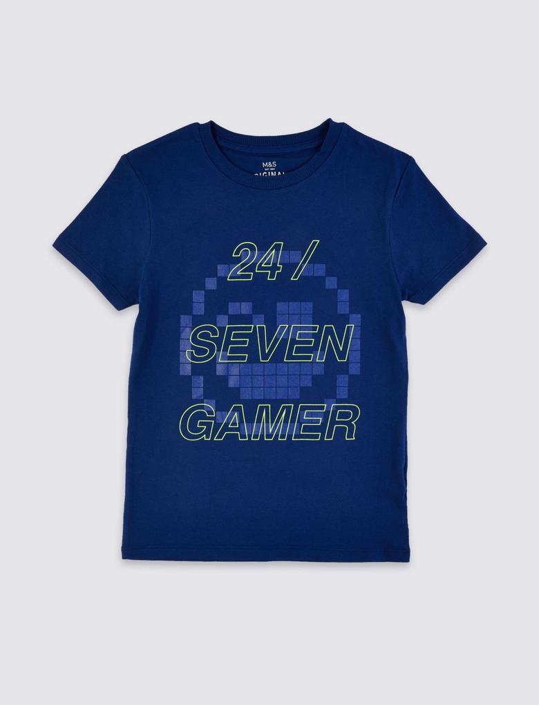 Erkek Çocuk Multi Renk Saf Pamuklu Kısa Kollu Slogan T-shirt