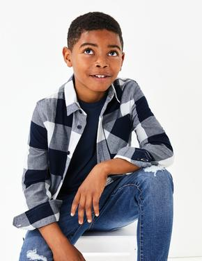 Erkek Çocuk Lacivert Saf Pamuklu T-shirt ve Gömlek Takımı