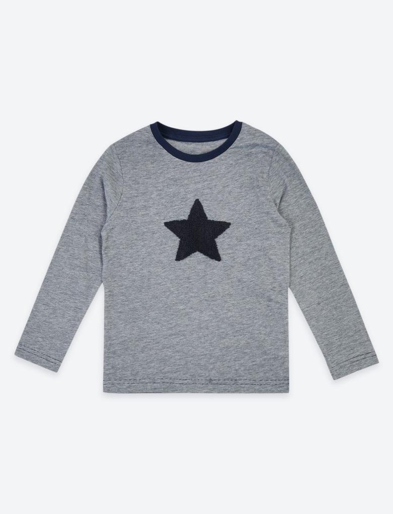 Yıldız Baskılı Uzun Kollu T-shirt