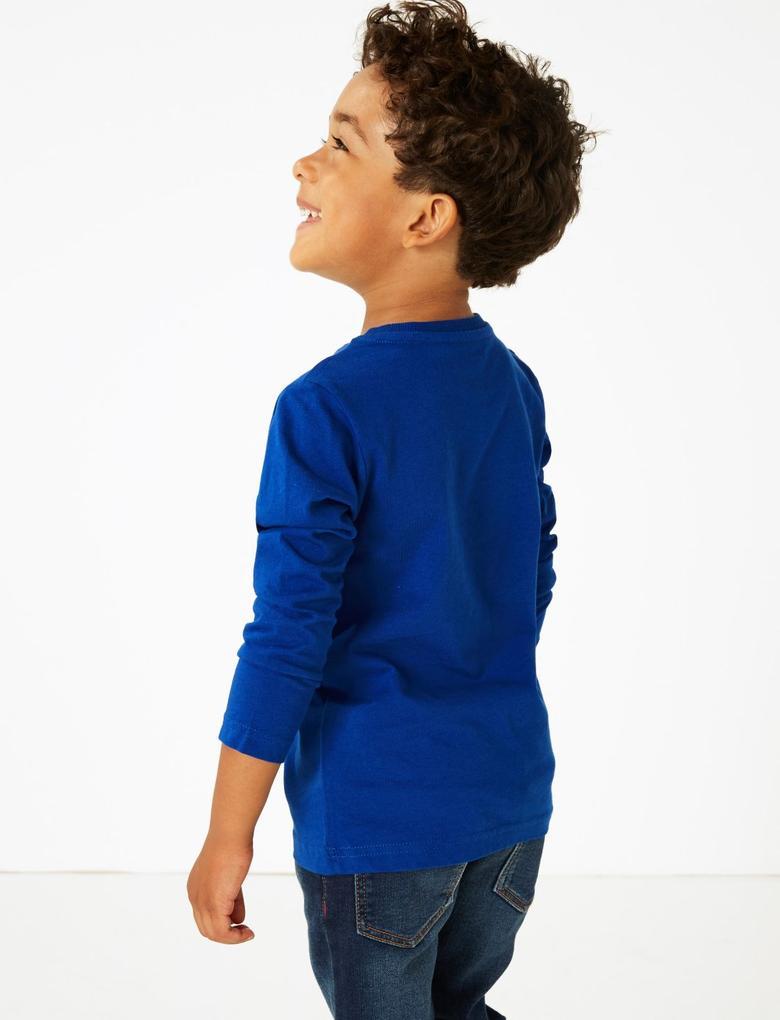 Erkek Çocuk Lacivert Saf Pamuklu Dinozor Baskılı T-shirt