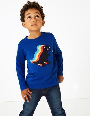Saf Pamuklu Dinozor Baskılı T-shirt