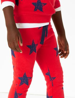 Erkek Çocuk Multi Renk Pamuklu Yıldız Baskılı Jogger Pantolon