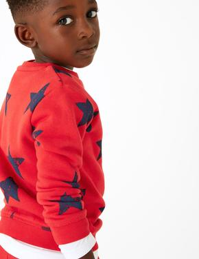 Kırmızı Pamuklu Yıldız Baskılı Sweatshirt
