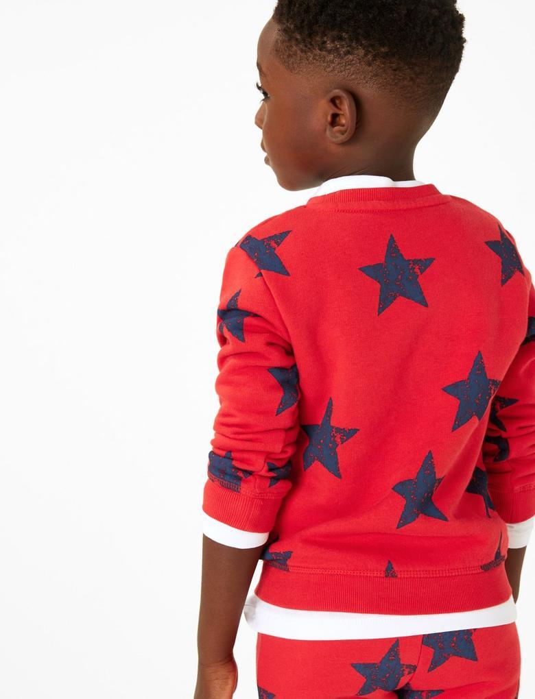 Erkek Çocuk Kırmızı Pamuklu Yıldız Baskılı Sweatshirt