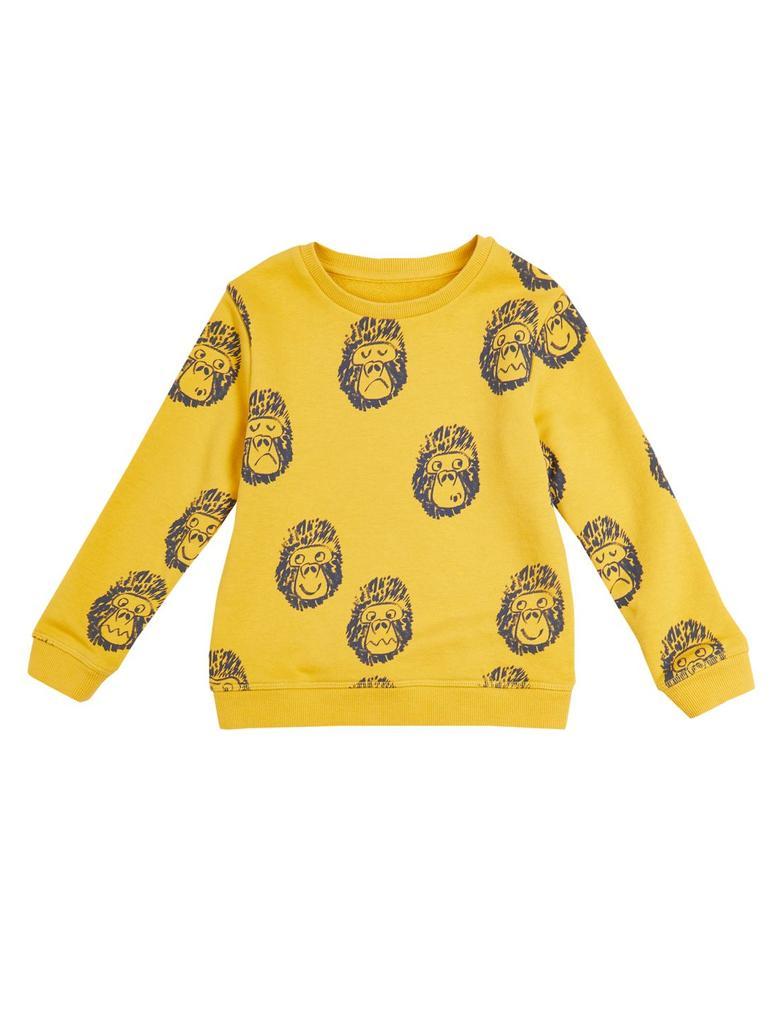 Pamuklu Goril Baskılı Sweatshirt