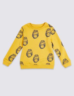 Kahverengi Pamuklu Goril Baskılı Sweatshirt