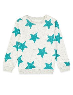 Bej Yıldız Desenli Sweatshirt
