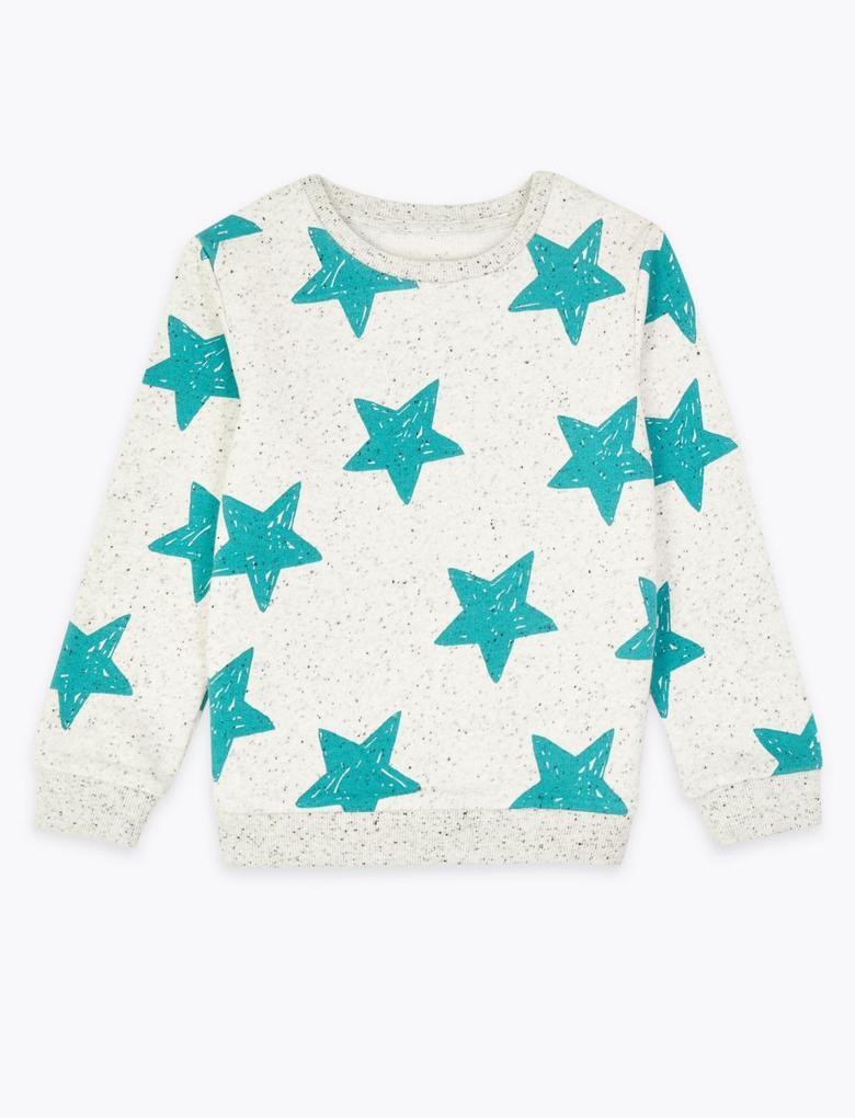 Erkek Çocuk Bej Yıldız Desenli Sweatshirt