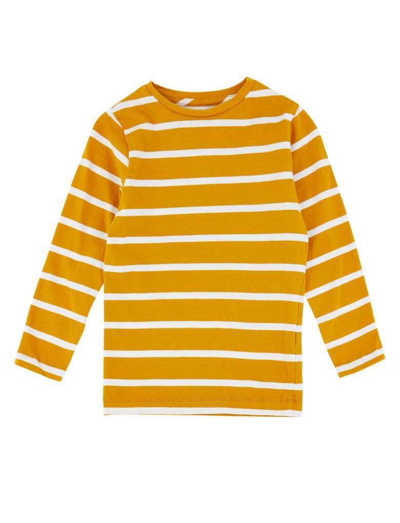 Kahverengi Saf Pamuklu Çizgili T-shirt