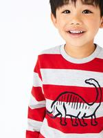 Erkek Çocuk Multi Renk Pamuklu Çizgili Alt ve Üst Takımı