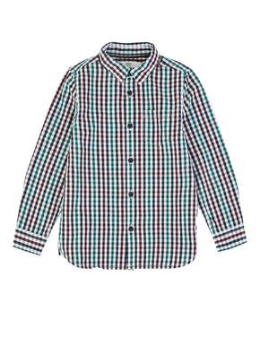 Saf Pamuklu Kareli Gömlek