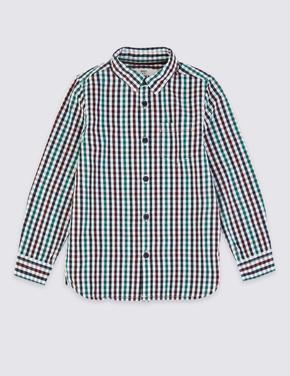 Erkek Çocuk Multi Renk Saf Pamuklu Kareli Gömlek