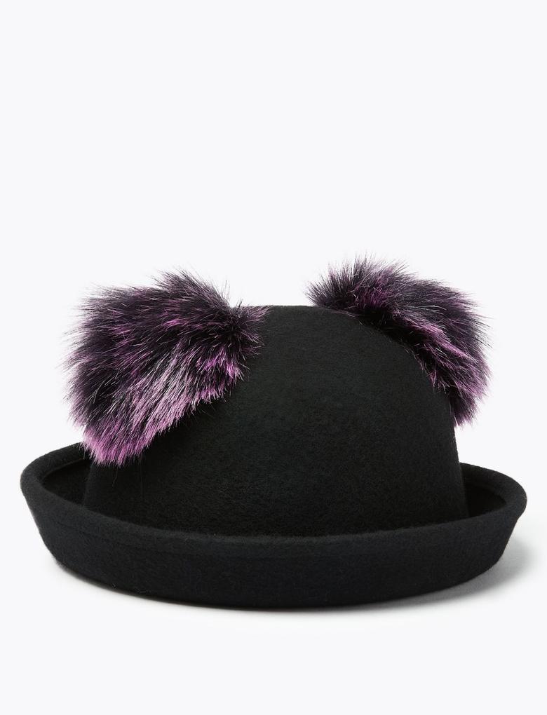 Çocuk Siyah Saf Yün Ponponlu Şapka