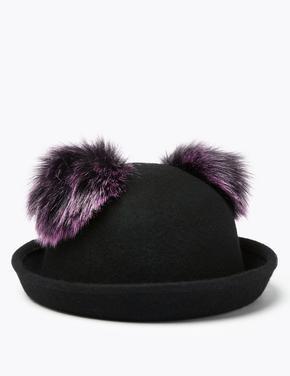 Saf Yün Ponponlu Şapka