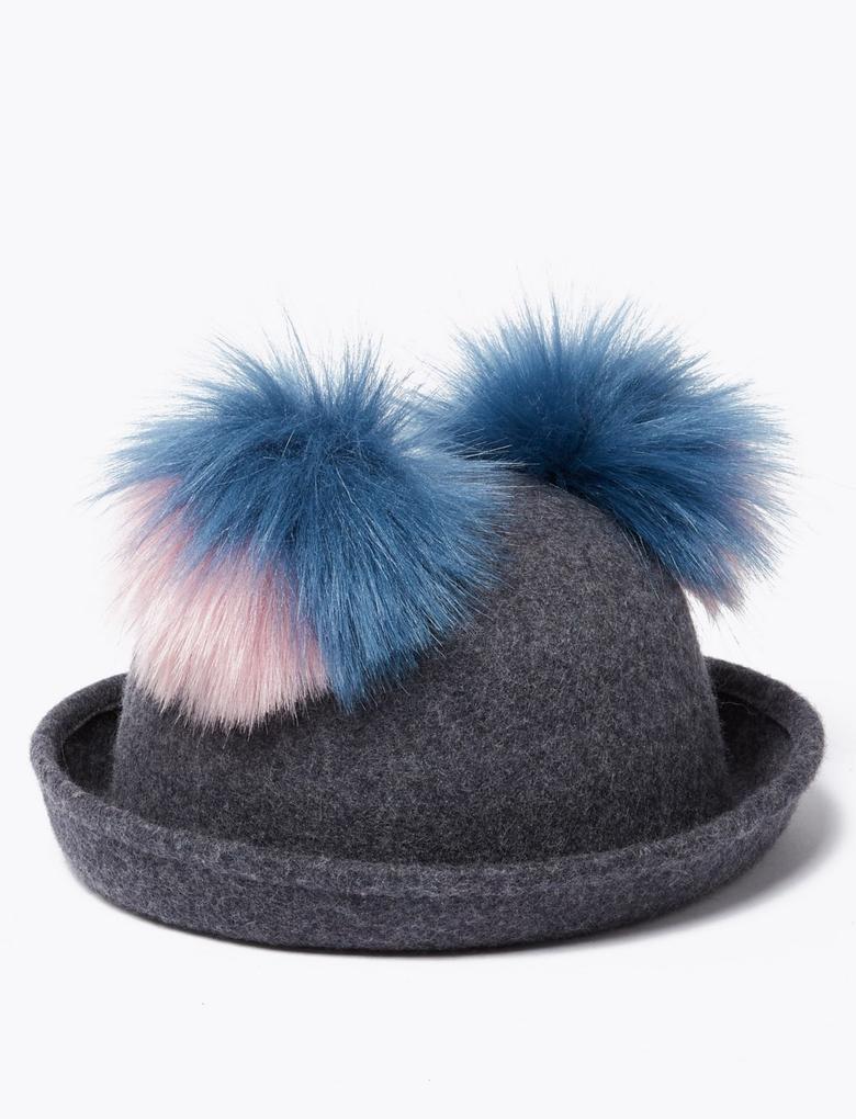 Gri Ponponlu Yünlü Şapka