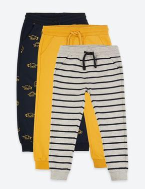 Erkek Çocuk Gri 3'lü Pamuklu Jogger Pantolon Seti