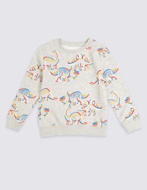 Gri Pamuklu Dinozor Baskılı Sweatshirt