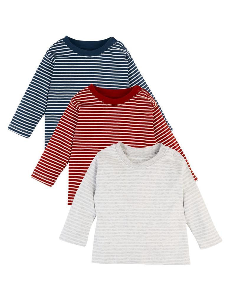 3'lü Saf Organik Pamuklu Çizgili T-Shirt Seti