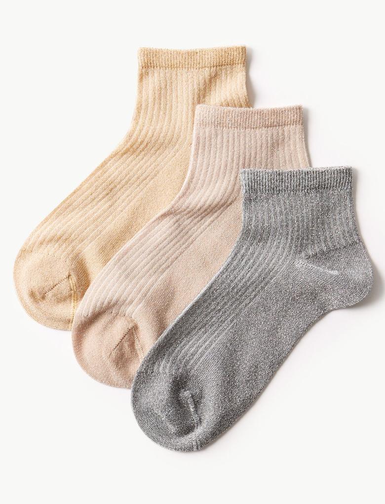 Kadın Sarı 3'lü Çorap Seti