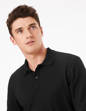 Erkek Siyah Uzun Kollu Polo Yaka T-shirt